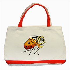 Funny Bug Running Hand Drawn Illustration Classic Tote Bag (red) by dflcprints