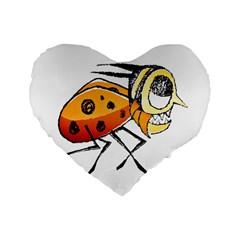 Funny Bug Running Hand Drawn Illustration 16  Premium Flano Heart Shape Cushion  by dflcprints