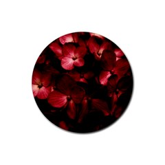 Red Flowers Bouquet In Black Background Photography Drink Coaster (round) by dflcprints