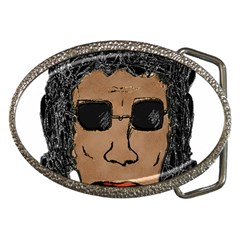 Cool Rock Star Man Drawing Belt Buckle (oval) by dflcprints