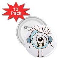 Cute Weird Caricature Illustration 1 75  Button (10 Pack) by dflcprints