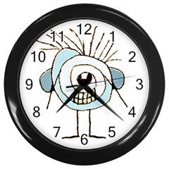 Cute Weird Caricature Illustration Wall Clock (Black) by dflcprints