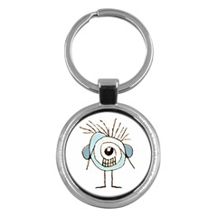 Cute Weird Caricature Illustration Key Chain (round) by dflcprints