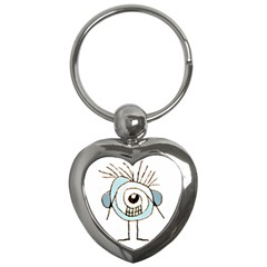 Cute Weird Caricature Illustration Key Chain (heart) by dflcprints