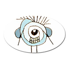 Cute Weird Caricature Illustration Magnet (oval) by dflcprints