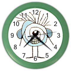 Cute Weird Caricature Illustration Wall Clock (color) by dflcprints