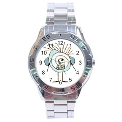 Cute Weird Caricature Illustration Stainless Steel Watch by dflcprints