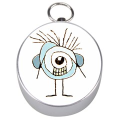 Cute Weird Caricature Illustration Silver Compass by dflcprints
