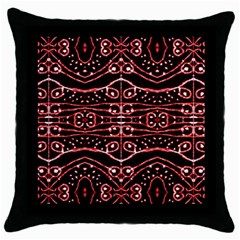 Tribal Ornate Geometric Pattern Black Throw Pillow Case by dflcprints