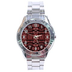 Tribal Ornate Geometric Pattern Stainless Steel Watch by dflcprints