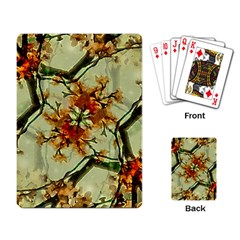 Floral Motif Print Pattern Collage Playing Cards Single Design by dflcprints