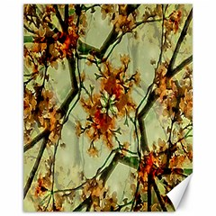 Floral Motif Print Pattern Collage Canvas 11  X 14  (unframed) by dflcprints