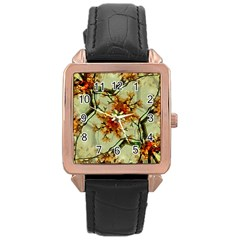 Floral Motif Print Pattern Collage Rose Gold Leather Watch  by dflcprints