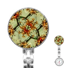Floral Motif Print Pattern Collage Stainless Steel Nurses Watch by dflcprints