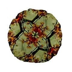 Floral Motif Print Pattern Collage 15  Premium Flano Round Cushion  by dflcprints