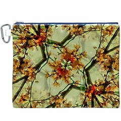 Floral Motif Print Pattern Collage Canvas Cosmetic Bag (XXXL) by dflcprints