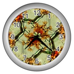 Floral Motif Print Pattern Collage Wall Clock (silver) by dflcprints
