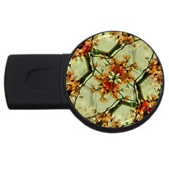 Floral Motif Print Pattern Collage 4GB USB Flash Drive (Round) by dflcprints
