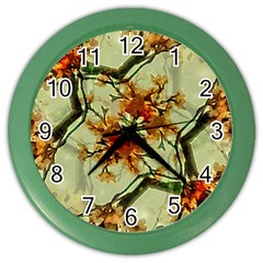 Floral Motif Print Pattern Collage Wall Clock (color) by dflcprints