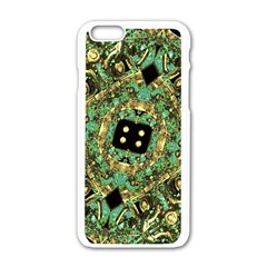 Luxury Abstract Golden Grunge Art Apple Iphone 6 White Enamel Case by dflcprints