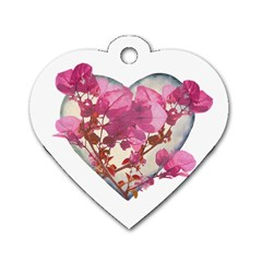 Heart Shaped With Flowers Digital Collage Dog Tag Heart (two Sided) by dflcprints