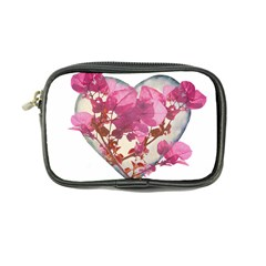 Heart Shaped With Flowers Digital Collage Coin Purse by dflcprints