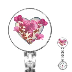 Heart Shaped With Flowers Digital Collage Stainless Steel Nurses Watch by dflcprints