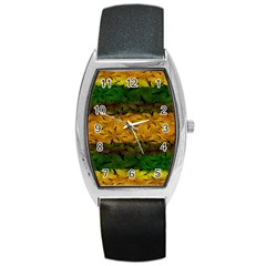 Tribal Floral Pattern Tonneau Leather Watch by dflcprints