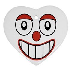 Happy Clown Cartoon Drawing Heart Ornament by dflcprints