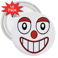 Happy Clown Cartoon Drawing 3  Button (10 Pack) by dflcprints