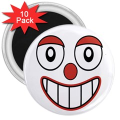 Happy Clown Cartoon Drawing 3  Button Magnet (10 Pack) by dflcprints