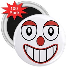 Happy Clown Cartoon Drawing 3  Button Magnet (100 Pack) by dflcprints