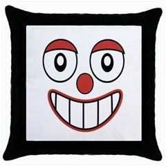 Happy Clown Cartoon Drawing Black Throw Pillow Case by dflcprints