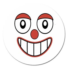 Happy Clown Cartoon Drawing Magnet 5  (round) by dflcprints