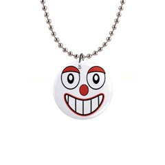 Happy Clown Cartoon Drawing Button Necklace by dflcprints