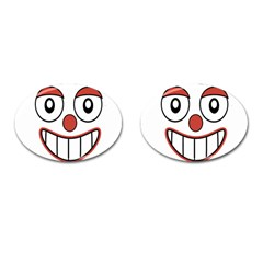 Happy Clown Cartoon Drawing Cufflinks (oval) by dflcprints