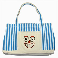 Happy Clown Cartoon Drawing Blue Striped Tote Bag by dflcprints