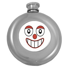 Happy Clown Cartoon Drawing Hip Flask (round) by dflcprints