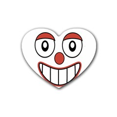 Happy Clown Cartoon Drawing Drink Coasters (heart) by dflcprints