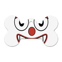 Happy Clown Cartoon Drawing Dog Tag Bone (two Sided) by dflcprints