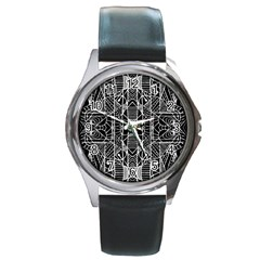 Black And White Tribal Geometric Pattern Print Round Leather Watch (silver Rim) by dflcprints