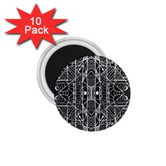 Black And White Tribal Geometric Pattern Print 1 75  Button Magnet (10 Pack) by dflcprints