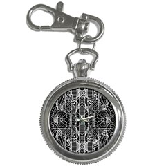 Black And White Tribal Geometric Pattern Print Key Chain Watch by dflcprints
