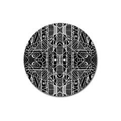 Black And White Tribal Geometric Pattern Print Magnet 3  (round) by dflcprints