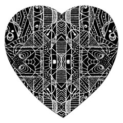 Black And White Tribal Geometric Pattern Print Jigsaw Puzzle (heart) by dflcprints
