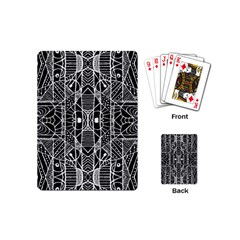 Black And White Tribal Geometric Pattern Print Playing Cards (mini) by dflcprints