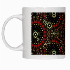 Digital Abstract Geometric Pattern In Warm Colors White Coffee Mug by dflcprints