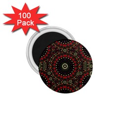Digital Abstract Geometric Pattern In Warm Colors 1 75  Button Magnet (100 Pack) by dflcprints