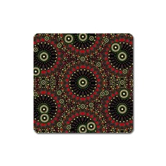 Digital Abstract Geometric Pattern In Warm Colors Magnet (square) by dflcprints