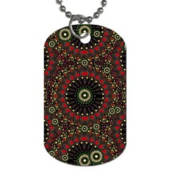Digital Abstract Geometric Pattern In Warm Colors Dog Tag (two Sided)  by dflcprints